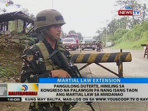 BT: Pang. Duterte, hiniling sa Kongreso na palawigin pa nang isang taon ang Martial Law sa Mindanao