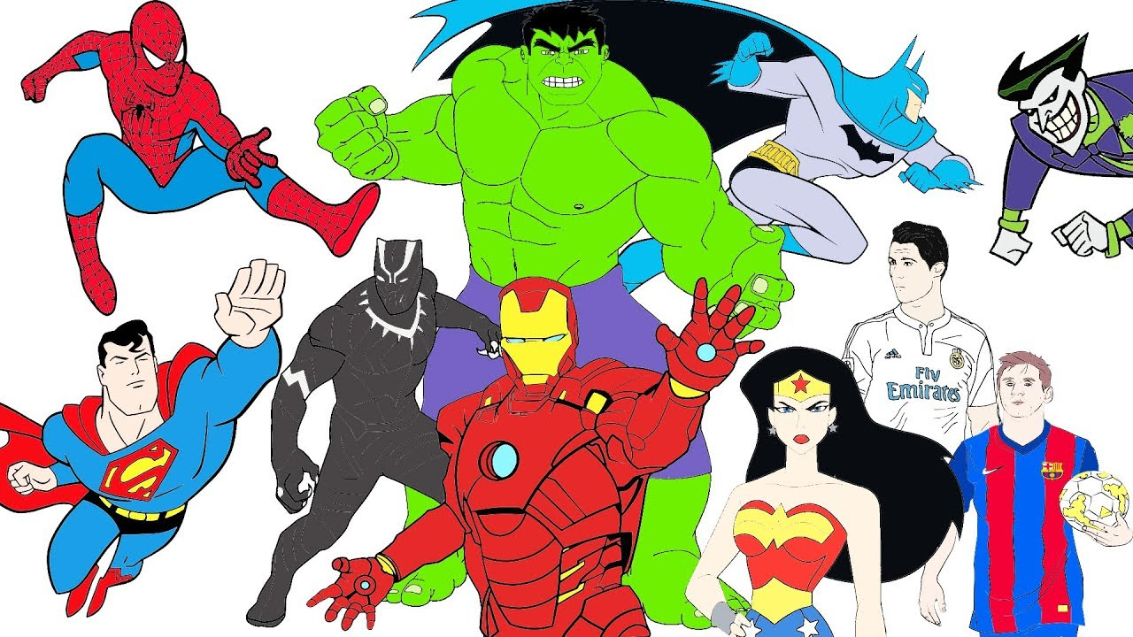 Coloring pages ronaldo messi black panther spiderman batman hulk joker superman iron man wonderwoman