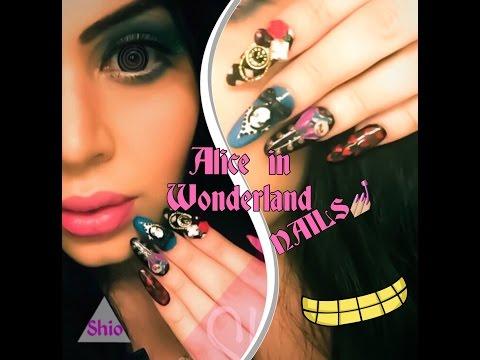 Alice in Wonderland Nails - Uñas Alicia En El Pais De Las Maravillas