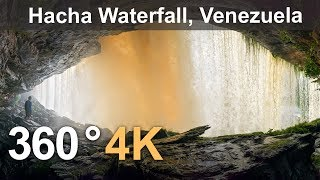 360°, Canaima Lagoon, Venezuela. Part II. Hacha Waterfall. 4K aerial video thumbnail