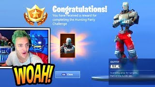 "NINJA UNLOCKS THE *NEW* ""A.I.M"" SKIN (WEEK 7) HUNTING PARTY SKIN! Fortnite FUNNY & EPIC Moments"