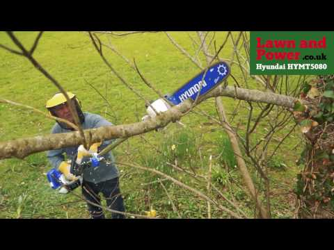 In action the HYMT5080 Petrol Multi-Tool - Hedge Trimmer / B