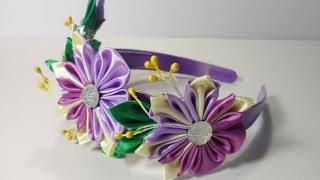 Уроки канзаши : Цветочный ободок для волос . Канзаши для начинающих