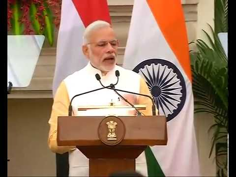 The PM Modi in joint press briefing with the President of the Arab Republic of Egypt in New Delhi