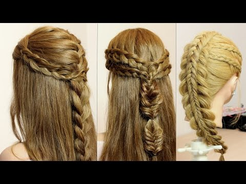 3 Braid hairstyles for long hair tutorial