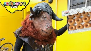 GIANT MINOTAUR wants our doughnuts! Skyheart battles with ox bull creature toys kids