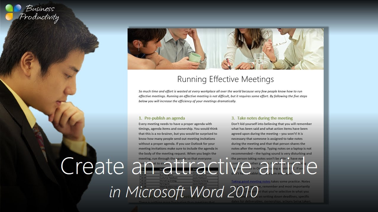Create an attractive article in Microsoft Word 2010 - YouTube