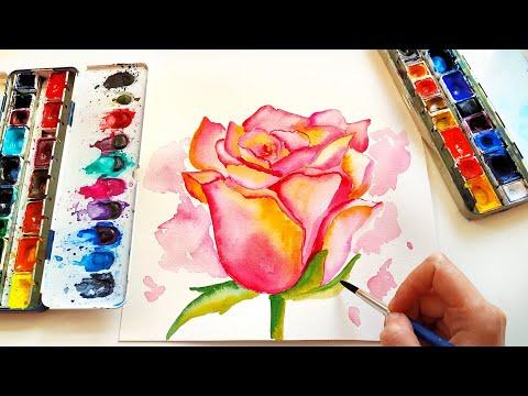 Watercolor Rose Flowers Painting - Botanical Art Tutorial for Beginners thumbnail