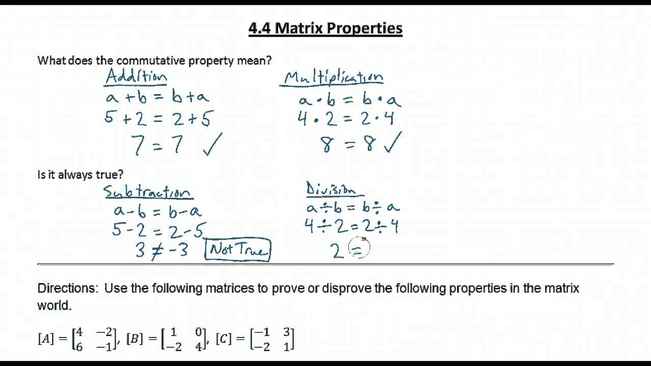 Properties of Matrix Multiplication (with videos, worksheets
