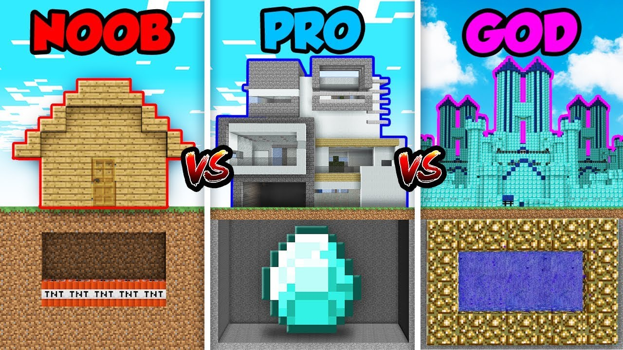 Minecraft Noob Vs Pro Vs God House Trap Build In Minecraft Animation Youtube