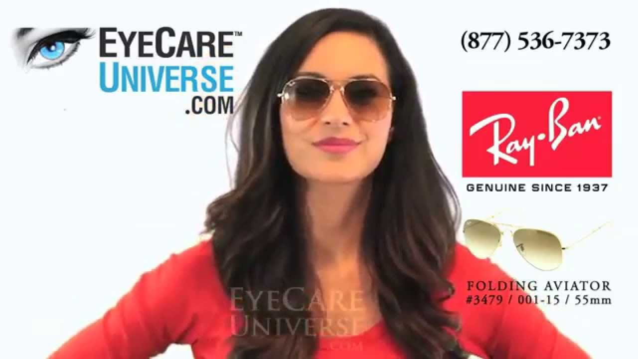 14a58a9be0829 Ray Ban Folding Aviator Sunglasses RB3479 001 51 55mm quick review - YouTube