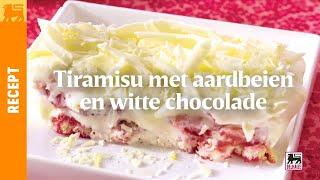 Tiramisu met aardbeien en witte chocolade