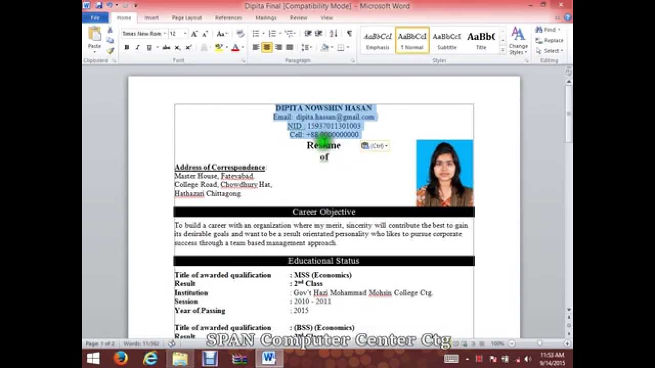 making a cv in word tk category curriculum vitae
