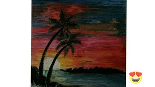 drawing beautiful scenery of sunset using oil pastels   artistica