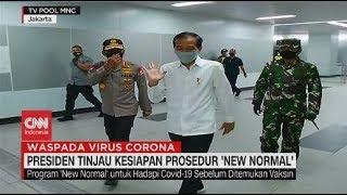 Didampingi Anies, Jokowi Tinjau Kesiapan Prosedur 'New Normal'