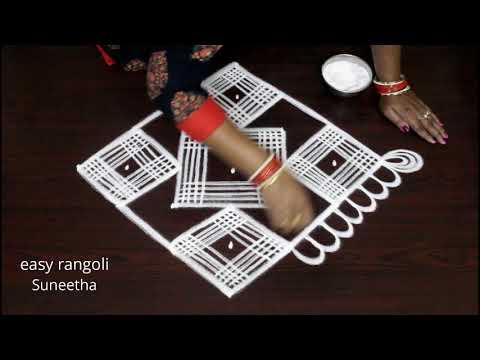 Cute marghazi/padi kolam     easy n simple Dhanurmasam muggulu    latest color rangoli 2019