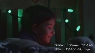 nikon nikkor 135mm f2 ai s d5200 64mbps hack video test low light
