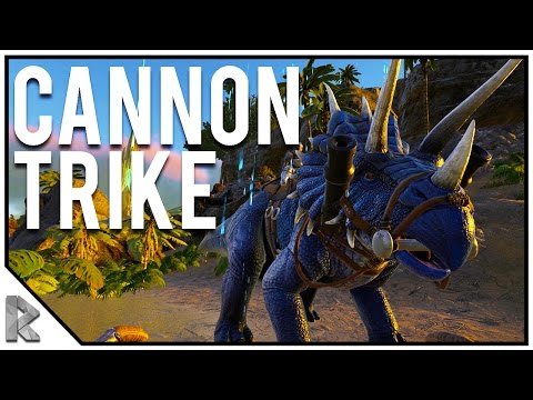 TRIKE MOUNTED WITH CANNONS! - Pugnacia Dinos Modded Ark Twitch Server #13