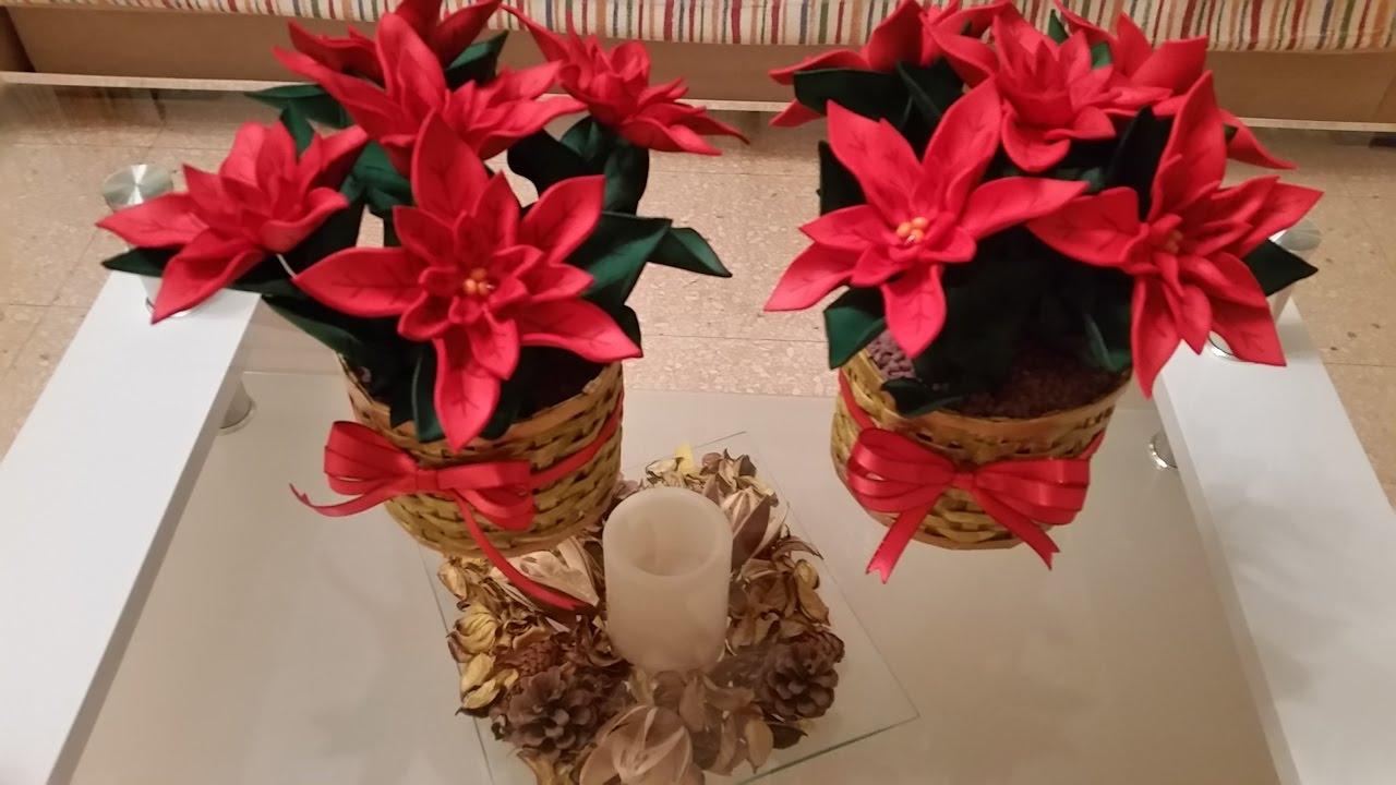 Como Hacer Flores De Pasuca De Navidad Con Sus Cestas Para Decorar Nuesta Mesa