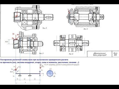3. Узлы зубчатых редукторов, опоры валов, расчетные схемы валов, корпуса, конструкции редукторов