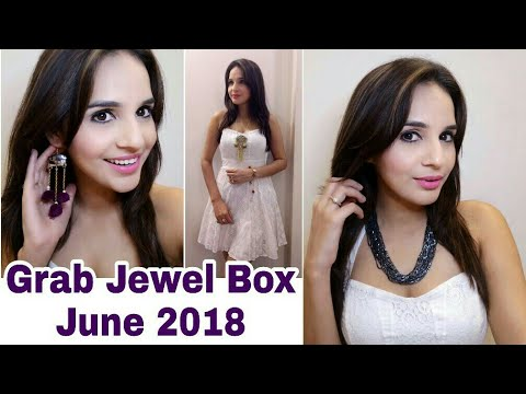 Grab Box June 2018 | Best till date | 12 Jewellery Pieces | Unboxing + Try on Review | Look Book