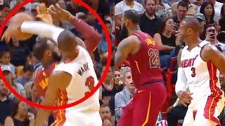 Wade Blocks LeBron and Tells Him to