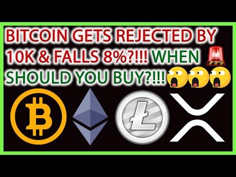 BITCOIN FALLS 8% TODAY!!! WHEN SHOULD YOU BUY?!(BTC, ETH, LTC, XRP, XTZ)🚨BITCOIN TECHNICAL ANALYSIS🎯