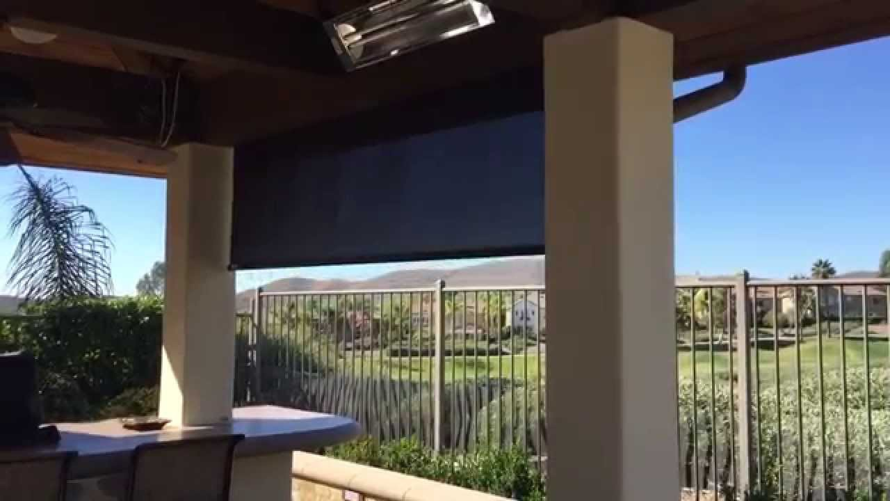 Hunter Douglas Outdoor Sun Screen With Motorized Open