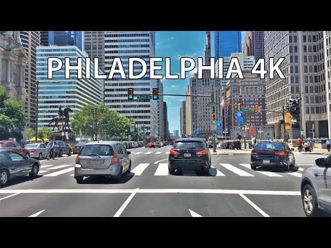 Driving Downtown - Broad Street - Philadelphia Pennsylvania USA