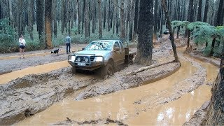Holden Rodeo bogged in mud Toolangi | Not Much Help Track | Off-Road