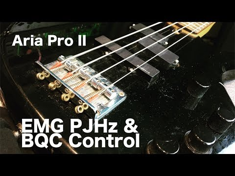 Modded Aria Pro Bass guitar with EMG PJHz pickups and BQC control