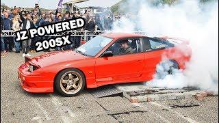 JZ swapped Nissan 200SX (!) HUGE Burnout