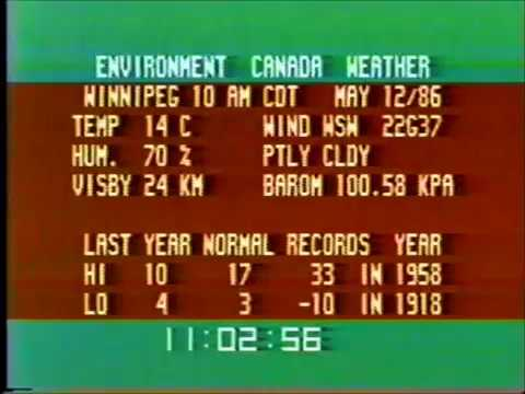 Winnipeg - Environment Canada Weather Channel (May 12, 1986)