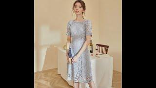 Элегантное летнее кружевное платье с пышными короткими рукавами романтичное облегающее миди во