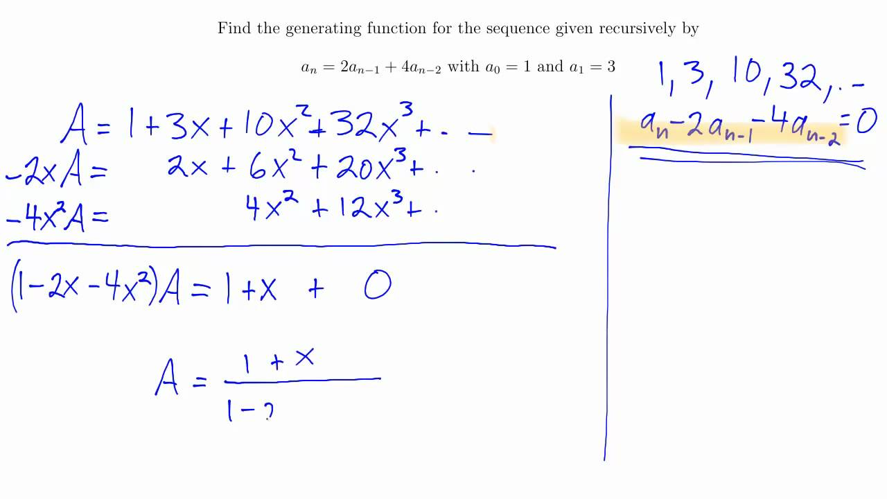 Generating Functions From Recurrence Relations Youtube