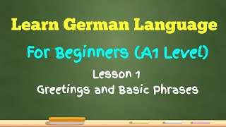 Learn German Language for Beginners (A1 Level) Lesson 1