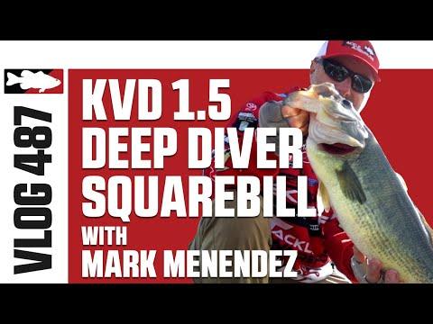Mark Menendez Fishing Strike King KVD 1.5 Deep Diver Squarebill In Fall On Lake X - TW VLOG #487