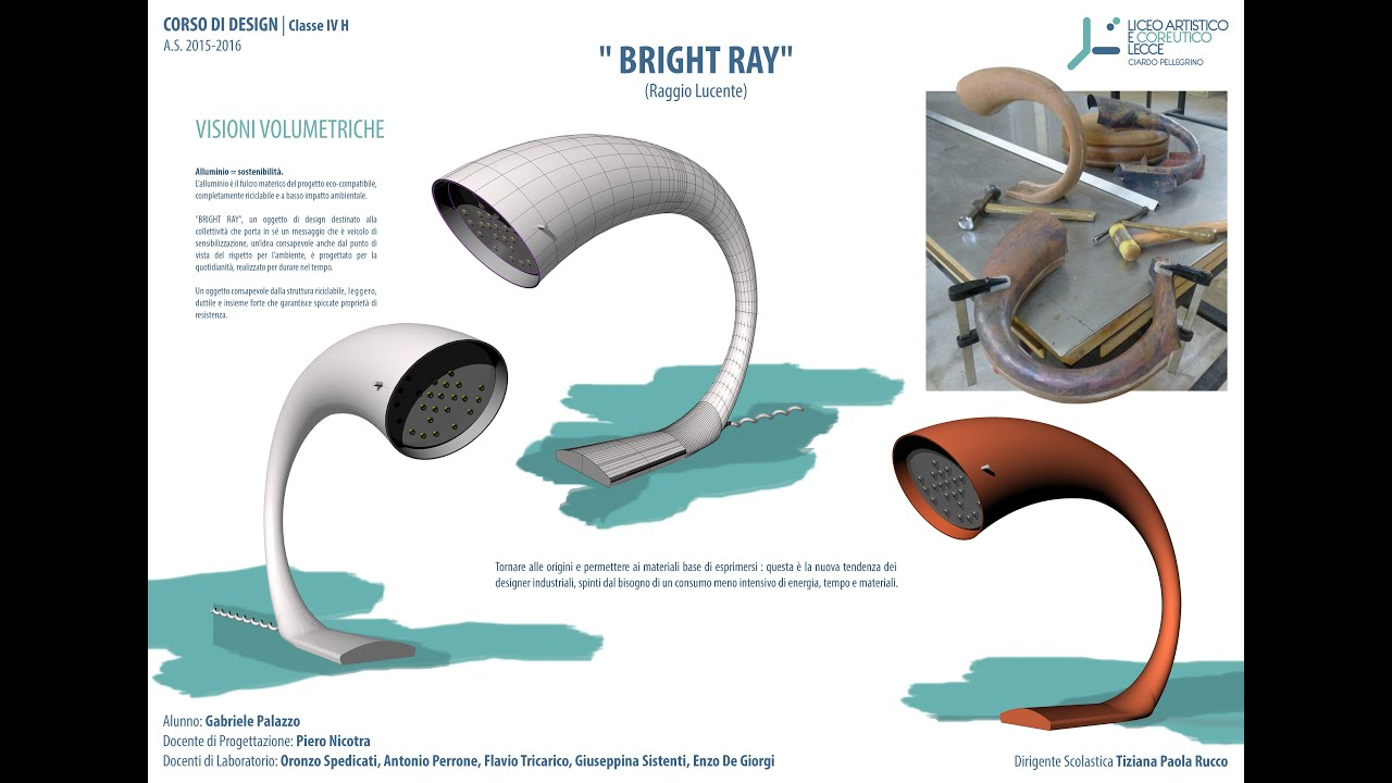 Bright ray progetto di una lampada liceo artistico di for Elementi di design