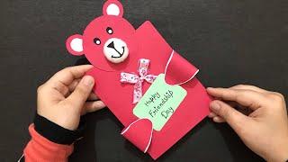 Handmade Friendship Day Teddy Card | Teddy Greeting Card | Creative Friendship Day Gift Ideas