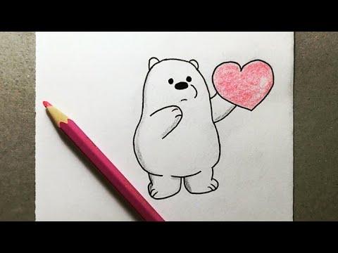 تعليم رسم الكرتون سهل رسم الدب قطبي مع قلب من كرتون الدببة الثلاثة شهاب و قطبي و باندا Youtube