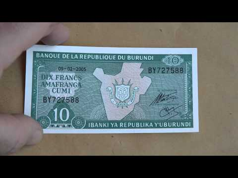 Foreign Currency Bank Note Dix Francs Amafranga Cumi Burundi