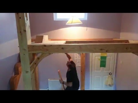 Timber Frame Mezzanine Floor High Loft Bed Time Lapse Installation Part 1