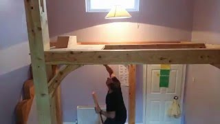 Timber Frame Mezzanine Floor High Loft Bed Time Lapse Installation Part 1