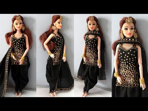 Barbie doll in Ethnic Patiala Salwar Kameez Design | How to make Salwar suit for barbie
