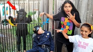 Monkey Escapes from Cage and Hide from Police - kids pretend play