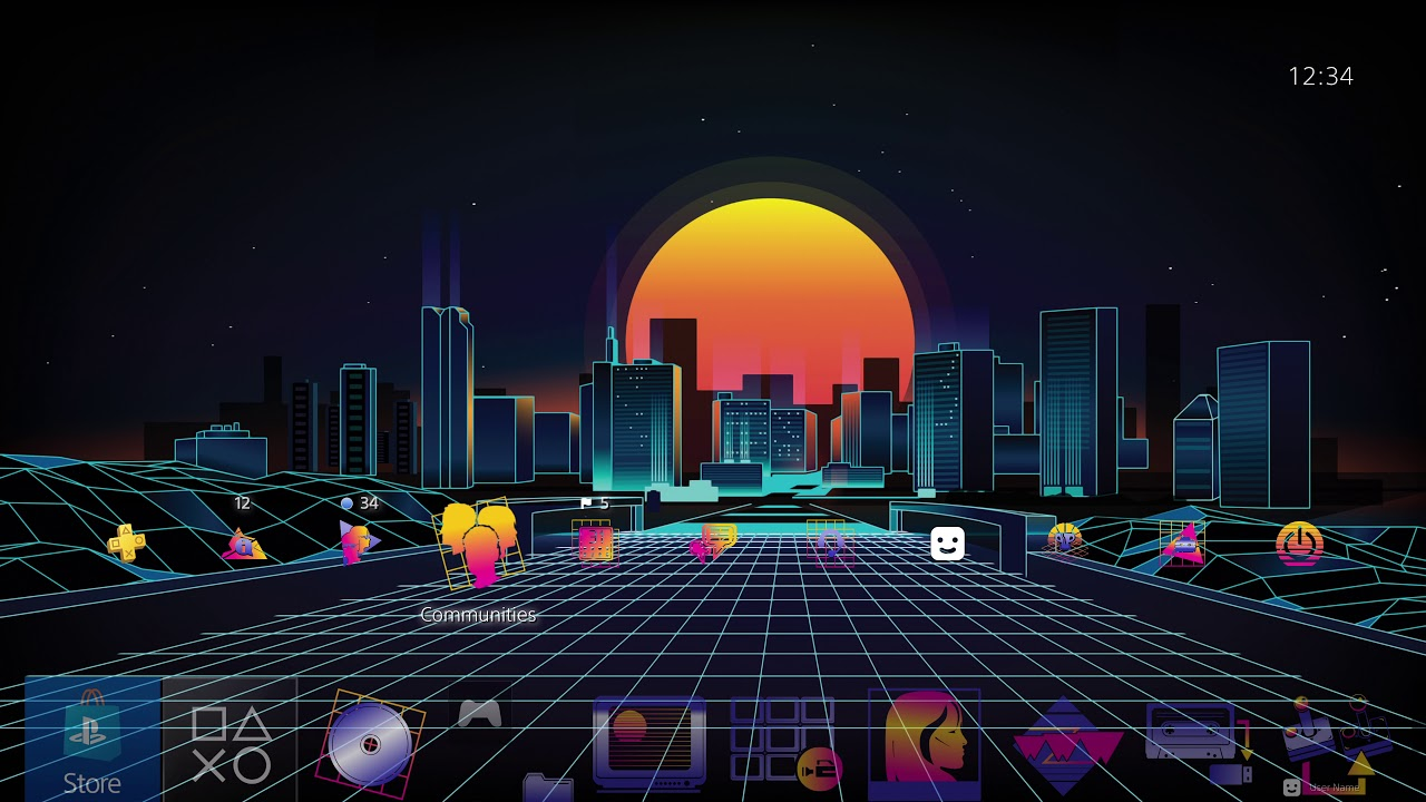 1980's Retro City PS4 Theme