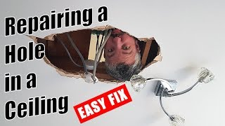 How to repair a hole in the ceiling - Repairing a Plasterboard Ceiling / Drywall Ceiling