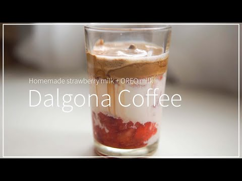 dalgona-coffee-|-frothy-whipped-coffee-|-homemade-fresh-strawberry-milk-|-oreo-milk-easy-recipe