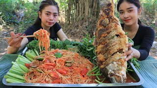 How to cook papaya salad with fish fried recipe with my sister - Cooking skill