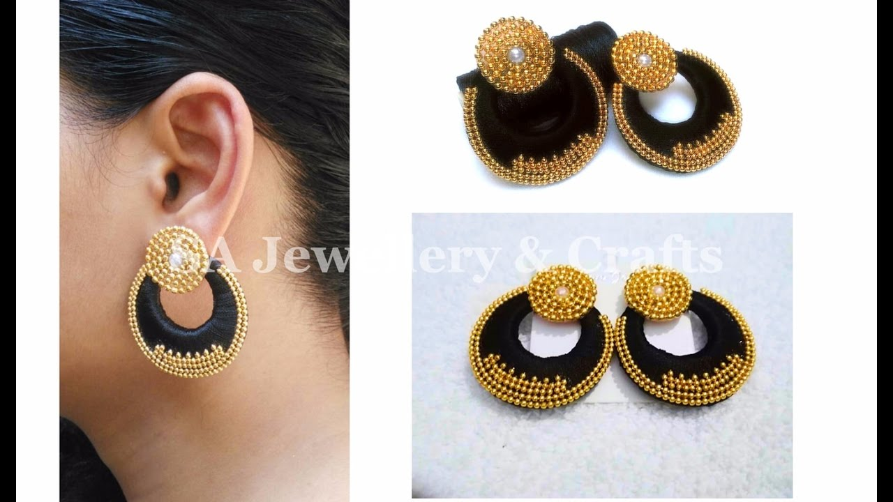 Designer Silk Thread Chandbali Earrings DIY Tutorial
